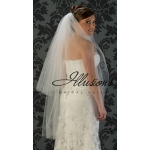 Illusions Bridal Cut Edge Veil S1-452-CT: 2 Layer Knee Length, Rhinestone Accent