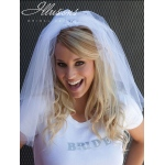 Illusions Bridal Cut Edge Veil Bachelorette: Rhinestone Accent