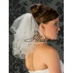 Illusions Bridal Filament Edge Wedding Veil C5-152-F: 2 Tier Flyaway, Pearl Accent