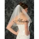 Illusions Bridal Pearl Edge Wedding Veil C7-252-P: 2 Layer, Rhinestone Accent
