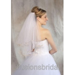 Illusions Bridal Colored Veils and Edges: Gold/Beige Ribbon Edge