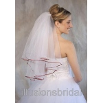 Illusions Bridal Colored Veils and Edges: Burnt Orange Ribbon Edge