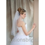 Illusions Bridal Colored Veils and Edges: Light Blue Rattail Edge