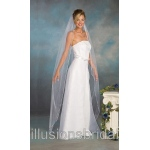 Illusions Bridal Colored Veils and Edges with Light Blue Rattail Edge 5-721-RT-LB