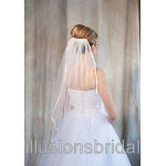 Illusions Bridal Colored Veils and Edges: Pink Ribbon Edge