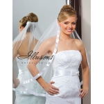 Illusions Bridal Ribbon Edge Veil 5-301-7R-RS: Rhinestone Accent