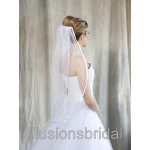 Illusions Bridal Colored Veils and Edges with Light Blue Ribbon Edge