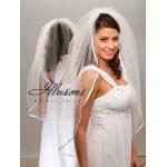 Illusions Bridal Ribbon Edge Veil 1-361-3R: Pearl Accent