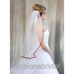 Illusions Bridal Colored Veils and Edges with Garnet Ribbon Edge