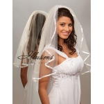 Illusions Bridal Ribbon Edge Veil 1-251-3R: Pearl Accent