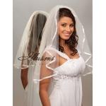 Illusions Bridal Ribbon Edge Veil 1-251-3R: Rhinestone Accent
