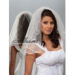 Illusions Bridal Ribbon Edge Veil 1-201-1R: Pearl Accent