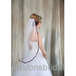 Illusions Bridal Colored Veils and Edges with Eggplant Ribbon Edge