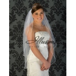 Illusions Bridal Soutache Edge Veil S5-362-ST: Rhinestone Accent, Fingertip Length