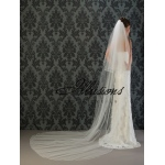 Illusions Bridal Soutache Edge Veil S1-1202-ST: Pearl Accent