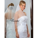 Illusions Bridal Soutache Edge Veil C7-362-ST: Pearl Accent