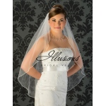 Illusions Bridal Pearl Edge Veil 1-361-P: Pearl Accent