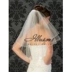 Illusions Bridal Rattail Edge Wedding Veil C7-252-RT: Pearl Accent, Elbow Length