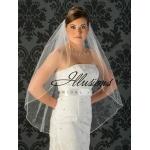 Illusions Bridal Rattail Edge Wedding Veil 1-361-RT: Pearl Accent, Fingertip Length