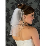 Illusions Bridal Rhinestone Edge Veil S5-152-RS: Pearl Accent