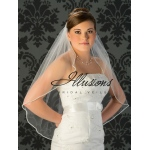 Illusions Bridal Rhinestone Edge Wedding Veil 7-301-RS: Rhinestone Accent, White Waist Length