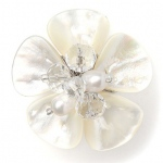 Mariell Exotic Freshwater Pearl Bridal Ring with Flower
