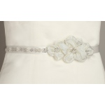 Mariell Pearl and Crystal Flower Cluster Bridal Sash: Ivory