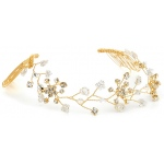 Mariell Swarovski Crystal Bridal Tiara Vine in Gold