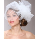 Mariell Chic Designer Bouffant-Style Side Veil in Four Colors