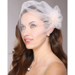 Mariell Tulle Birdcage Veil Bridal Cap with Side Pouf & Stamen Accents