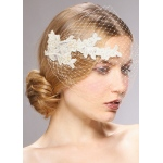 Mariell French Netting Bandeau Bridal Veil with Vintage Lace