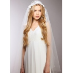 Mariell Ivory Vintage Lace Juliet Veil with Rosebuds
