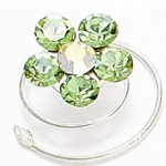 Mariell Prom Or Bridesmaid Crystal Flower Hair Spirals: Peridot