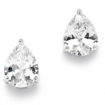 Mariell 2.00 Ct. Cubic Zirconia Pear Shape Stud Earrings for Weddings or Bridesmaids