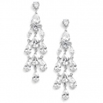 Mariell Cubic Zirconia Silver Chandelier Wedding Earrings