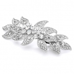 Mariell Vintage Leaves Filigree Crystal Wedding Or Prom Hair Barrette