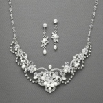 Mariell Freshwater Pearl & Crystal Wedding Necklace and Earrings Set