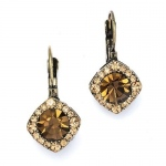 Mariell Tailored Brown Crystal Drop Earrings