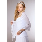 Mariell Luxurious Mesh Wedding Or Prom Wrap: Shimmer White