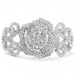 Mariell Pave Designer Etched Rose Cuff Bracelet