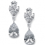 Mariell Large Pear Shaped Cubic Zirconia Drop Earrings