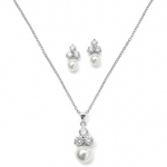 Mariell Bridal Or Bridesmaid Necklace Set with Round CZ Trio