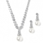Mariell Bridal Necklace Set with Graduated CZ Rounds and Bold Pearl