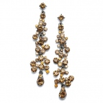 Mariell Dramatic Earrings with Cascading Smoked Topaz Bubbles