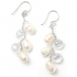 Mariell Genuine Freshwater Pearls Dangle Bridal Earrings