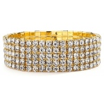 Mariell 5-Row Stretch Gold Rhinestone Bracelet