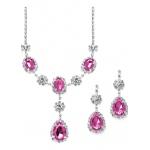 Mariell Rhinestone Prom & Bridesmaid Necklace Set with Fuchsia Teardrops