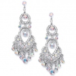 Mariell Iridescent Crystal Chandelier Earrings