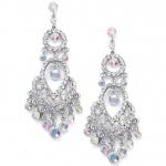 Mariell Iridescent Crystal Chandelier Earrings