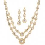 Mariell Regal Gold Two Row Rhinestone Neck Set
